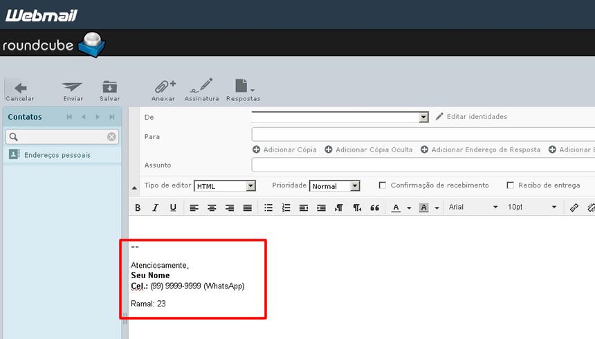 imagem mostrando como fica uma assinatura de email