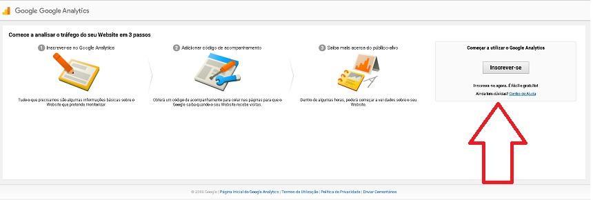 foto mostrando o botão para a pessoa se inscrever lá no site do Google Analytics