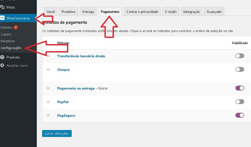 Imagem mostrando no painel da loja as opções de configuração das formas de pagamento disponíveis para seus clientes comprarem em sua loja online