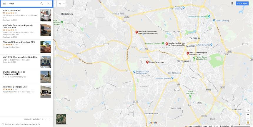 Imagem que mostra locais cadastrados no Google Maps