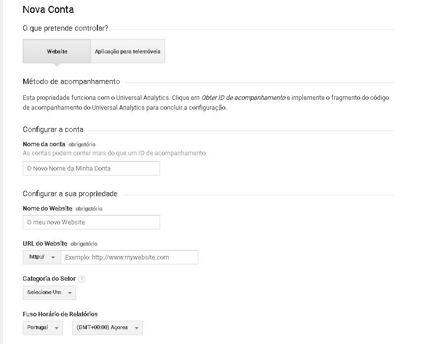 Imagem mostrando a tela onde tem que colocar url do site e nome para identificação dele no painel do Analytics