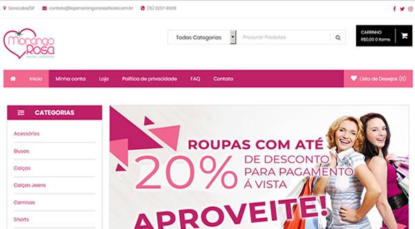 imagem da primeira pagina da loja Morango Rosa Oficial criada por nós da SizeWeb