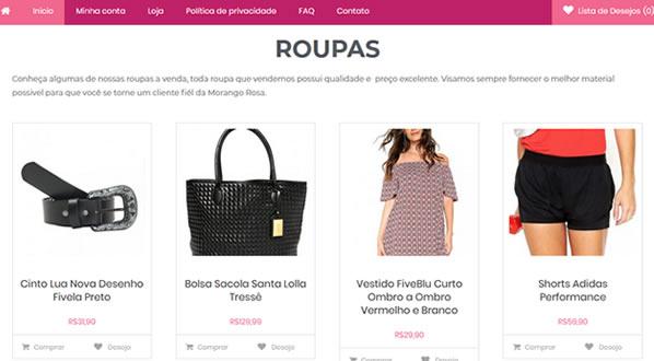 imagem da segunda pagina da loja Morango Rosa Oficial criada por nós da SizeWeb