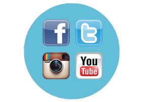 Integração com redes sociais facebook, youtube, twitter e instagram