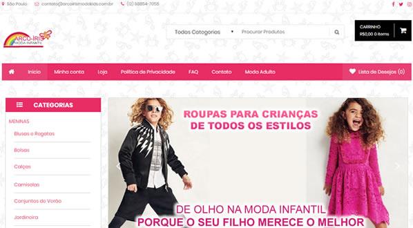 imagem da primeira pagina da loja Arco-Iris Moda Infantil criada por nós da SizeWeb