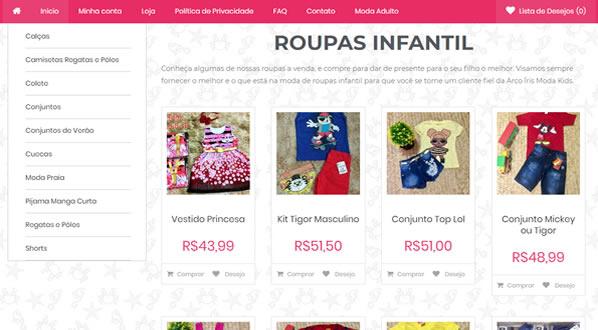 imagem da segunda pagina da loja Arco-Iris Moda Infantil criada por nós da SizeWeb
