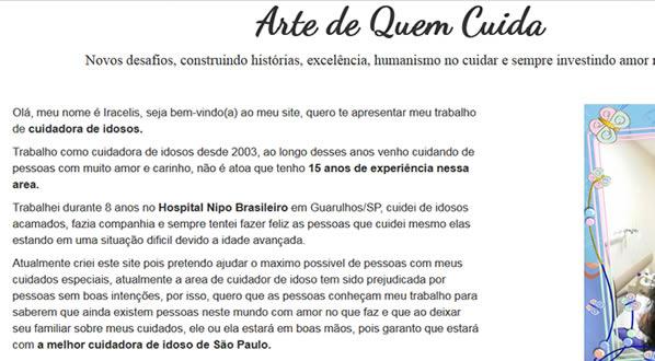 imagem da segunda pagina do site Arte de Quem Cuida criado por nós da SizeWeb