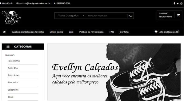 Imagem da primeira pagina da Loja Evellyn Calçados criada por nós da SizeWeb