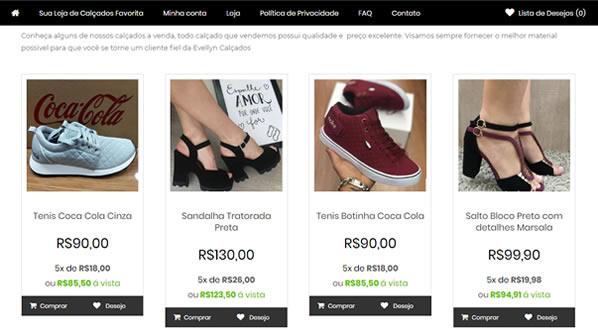 Imagem da segunda pagina da Loja Evellyn Calçados criada por nós da SizeWeb