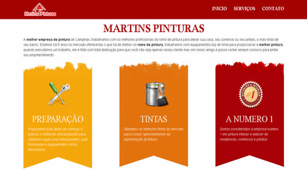 imagem da segunda pagina do site da martins pintura criado por nós da sizeweb