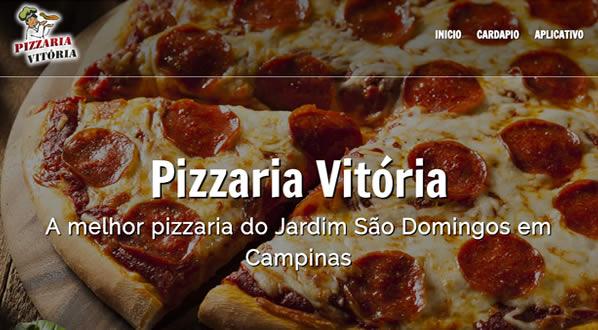 imagem da primeira pagina do site Pizzaria Vitória criado por nós da SizeWeb