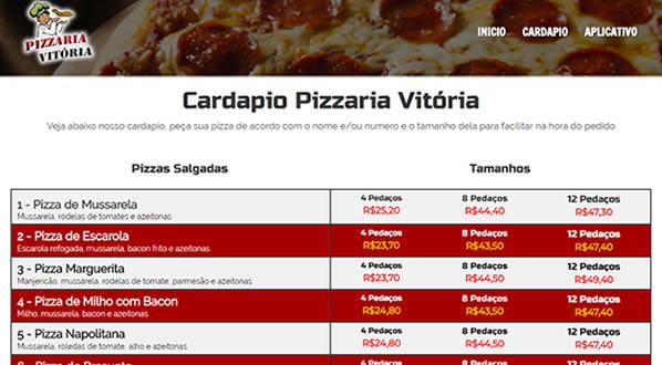 imagem da terceira pagina do site Pizzaria Vitória criado por nós da SizeWeb