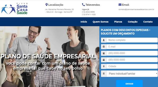 imagem da primeira pagina do site Plano Santa Casa de Santos criado por nós da SizeWeb