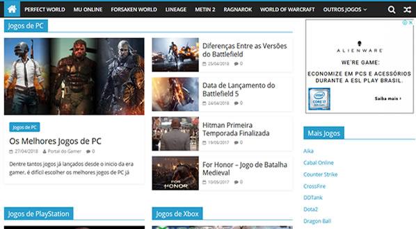 imagem da segunda pagina do site Portal do Gamer criado por nós da SizeWeb