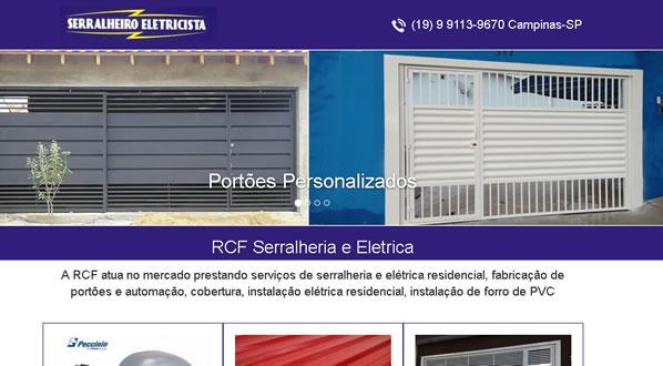 imagem da primeira pagina do site da RCF Serralheria criado por nós da sizeweb