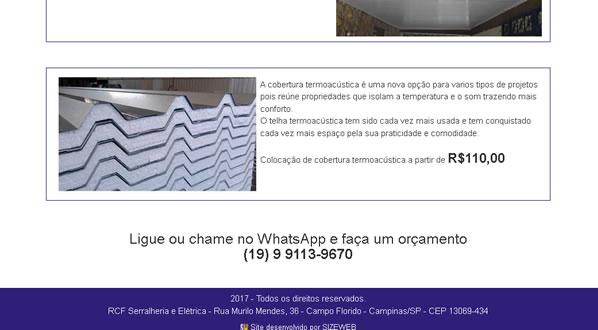 imagem da terceira pagina do site da RCF Serralheria criado por nós da sizeweb