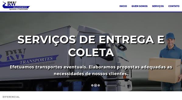 imagem da primeira pagina do site RW Transportes criado por nós da SizeWeb