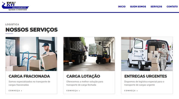 imagem da segunda pagina do site RW Transportes criado por nós da SizeWeb