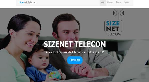 imagem da primeira pagina do site da SizeNet criado por nós da sizeweb