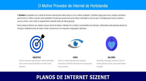 imagem da segunda pagina do site da SizeNet criado por nós da sizeweb