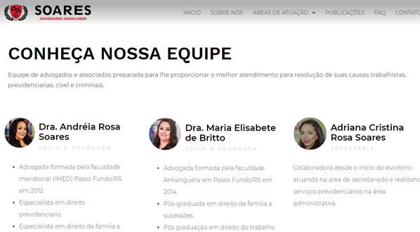 imagem da terceira pagina do site Soares Advogados Associados criado por nós da SizeWeb