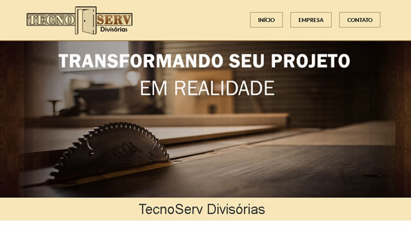 imagem da primeira pagina do site da TecnoServ criado por nós da sizeweb