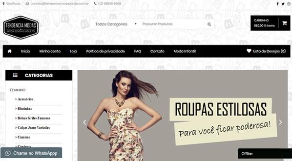 imagem da primeira pagina da loja Tendencia Modas criada por nós da SizeWeb