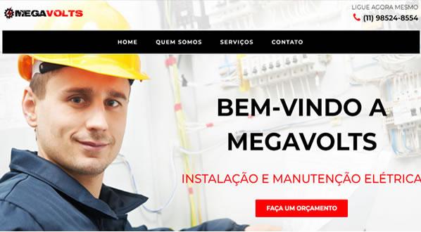 Imagens da primeira pagina do site MEGAVOLTS criado por nós da SizeWeb