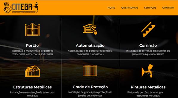 Imagens da segunda pagina do site Omega Serralheria criado por nós da SizeWeb