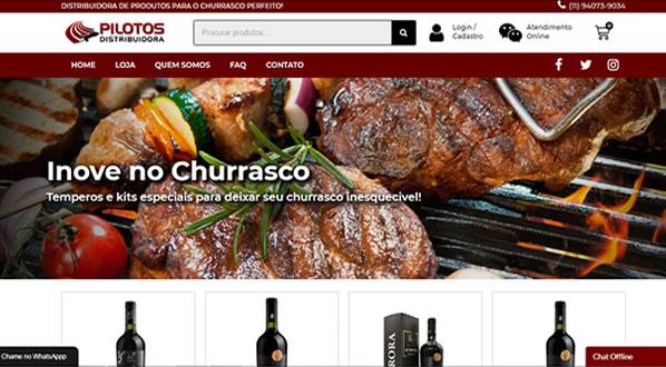 Imagens da primeira pagina da loja online Pilotos Distribuidora criada por nós da SizeWeb
