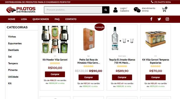 Imagens da segunda pagina da loja online Pilotos Distribuidora criada por nós da SizeWeb