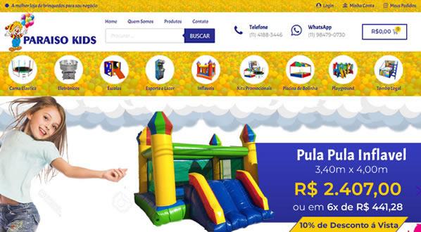 imagem da primeira pagina da loja online Paraiso Kids Brinquedos criada por nós da SizeWeb
