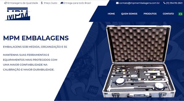 Imagem da primeira pagina do site MPM Embalagens criado pela SizeWeb