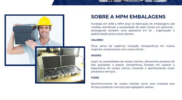 Imagem da segunda pagina do site MPM Embalagens criado pela SizeWeb