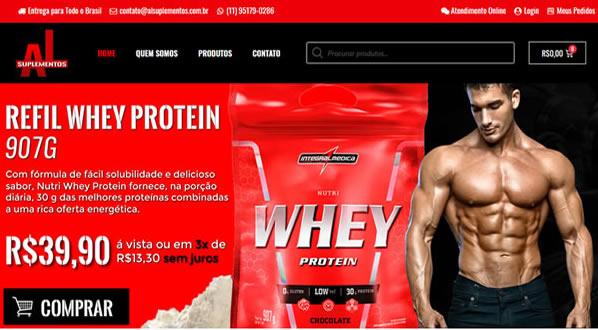 Imagem da primeira pagina da loja AL Suplementos criada por nós da SizeWeb
