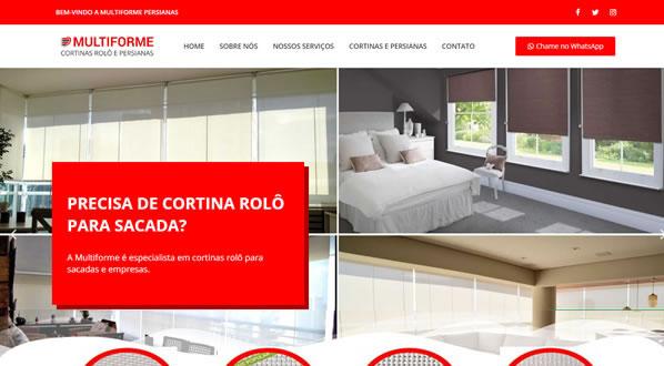 Imagem da primeira pagina do site Multiforme Persianas criado por nós da SizeWeb