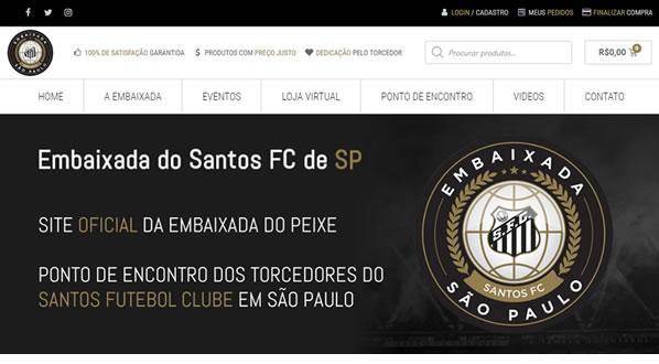imagem da primeira pagina do site Embaixada Santos FC São Paulo criado por nós da SizeWeb