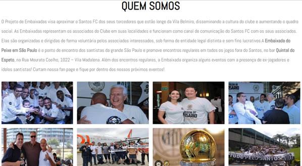 imagem da segunda pagina do site Embaixada Santos FC São Paulo criado por nós da SizeWeb