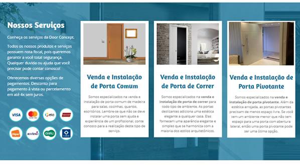imagem da terceira pagina do site da Door Concept criado por nós da sizeweb