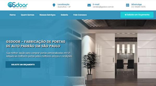 imagem da primeira pagina do site da GS door criado por nós da sizeweb