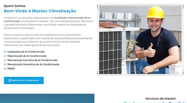 imagem da segunda pagina do site da MaxTec criado por nós da sizeweb