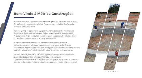 imagem da segunda pagina do site da Métrica Construções criado por nós da sizeweb