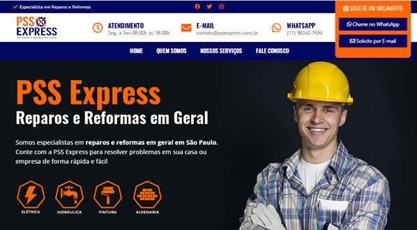 imagem da primeira pagina do site da PSS Express criado por nós da sizeweb