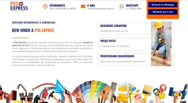 imagem da segunda pagina do site da PSS Express criado por nós da sizeweb