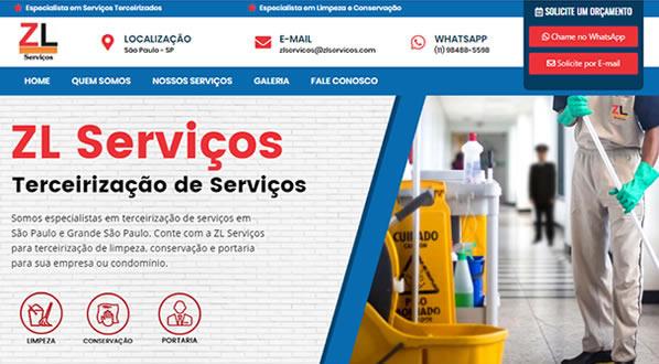 imagem da primeira pagina do site da ZL Serviços criado por nós da sizeweb