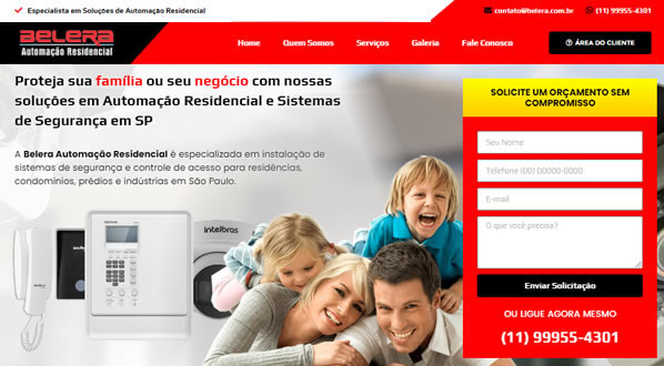imagem da primeira pagina do site da Belera Automação criado por nós da sizeweb