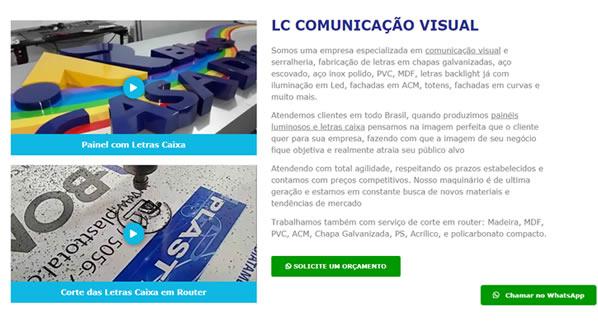 imagem da segunda pagina do site da LC Comunicação Visual criado por nós da sizeweb