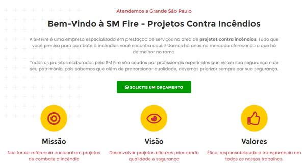 imagem da segunda pagina do site da SM Fire criado por nós da sizeweb