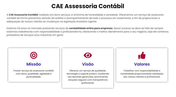 imagem da segunda pagina do site CAE Contabil criado por nós da SizeWeb