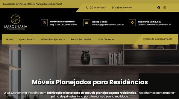 imagem da primeira pagina do site da GS Marcenaria criado por nós da sizeweb